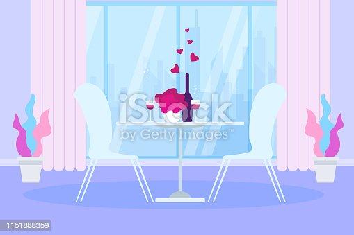 Romantic Dinner Restaurant Table Wine Bottle Glass