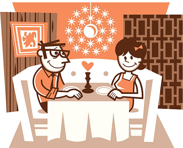 romantic dinner - peter bajohr stock illustrations, clip art, cartoons, & icons
