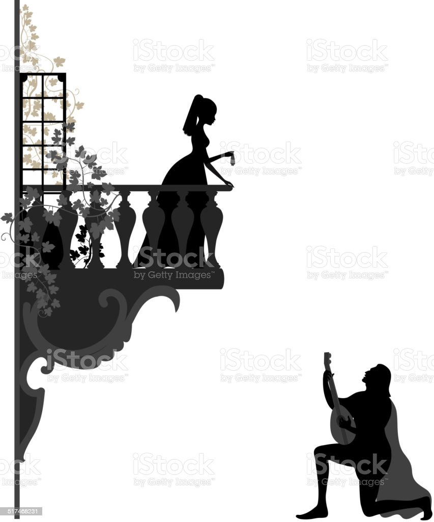 Romantic evening vector art illustration