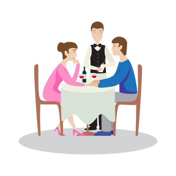 illustrazioni stock, clip art, cartoni animati e icone di tendenza di romantic family dinner in a restaurant. valentines dinner. - dinner couple restaurant