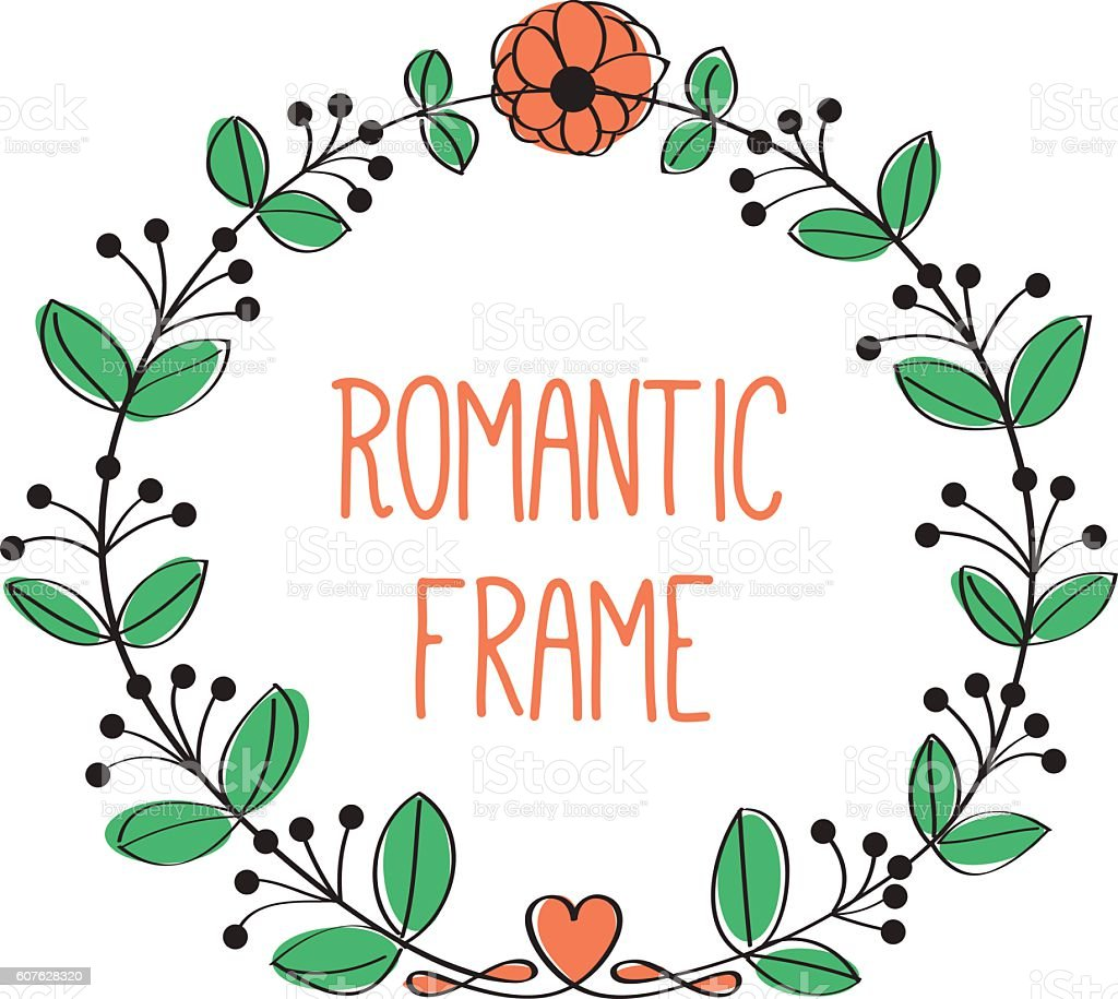 Romantic Floral Circle Frame Stock Illustration Download Image