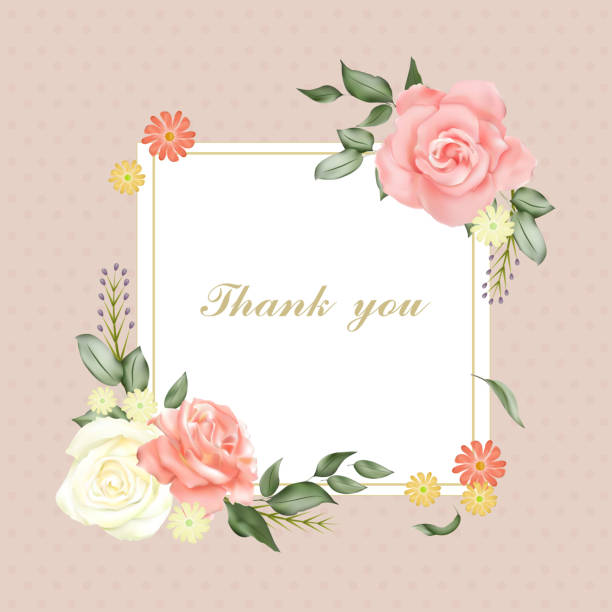 romantic floral thank you card romantic floral thank you card template in pink trillium stock illustrations