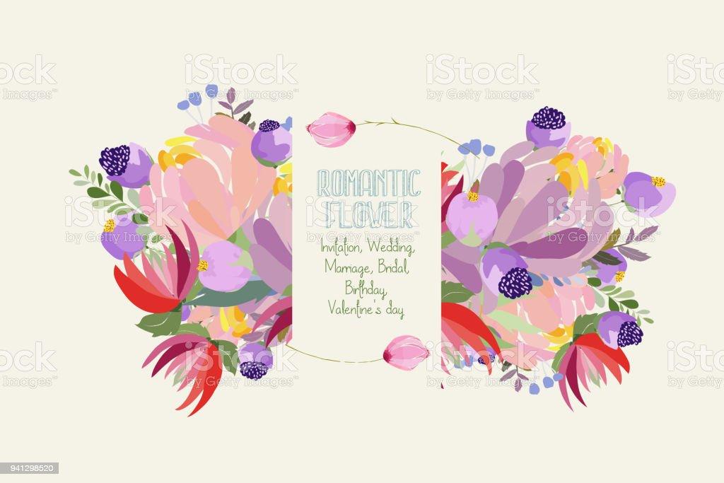 Romantische Bloem Kaart Uitnodiging Bruiloft Huwelijk Bridal