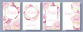 Vector botanical banners set with pink peony and white hydrangea flowers. Romantic design for natural cosmetics, perfume, women products. Can be used as greeting card or wedding invitation