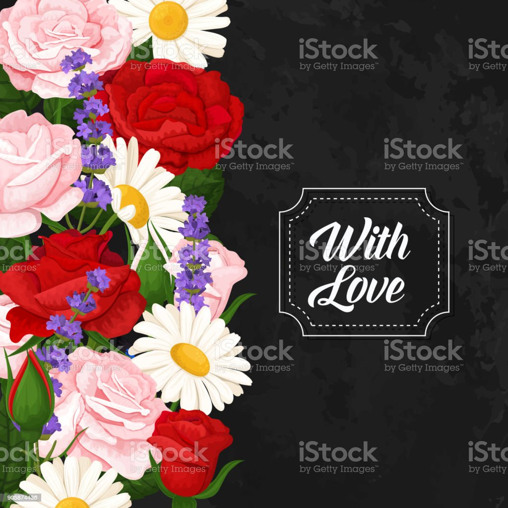 Romantic flowers bouquets with roses chamomile and butterflies romantic flowers bouquets with roses chamomile and butterflies vector floral collection royalty izmirmasajfo