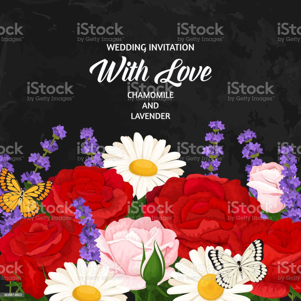 Romantic Flowers Bouquets With Roses Chamomile And Butterflies ...