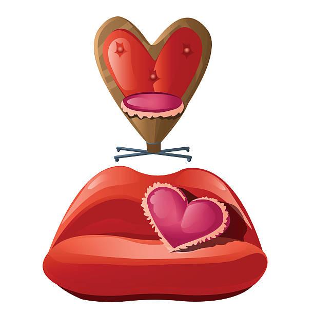 romantische möbel für innere, roten sofa und stuhl - herzkissen stock-grafiken, -clipart, -cartoons und -symbole