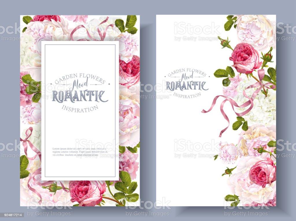 Romantic garden banners - illustrazione arte vettoriale