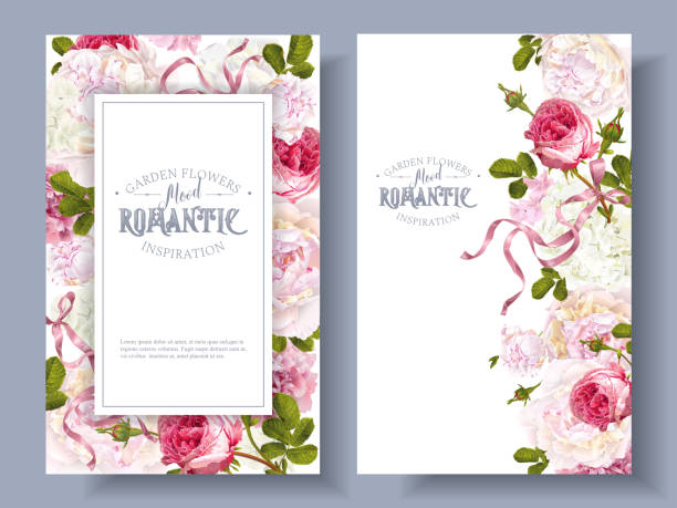 Romantic garden banners Vector vintage floral banners with peony, hydrangea, rose flowers and ribbon. Romantic design for natural cosmetics, perfume, women products. Can be used as greeting card. Best for wedding invitation birthday borders stock illustrations