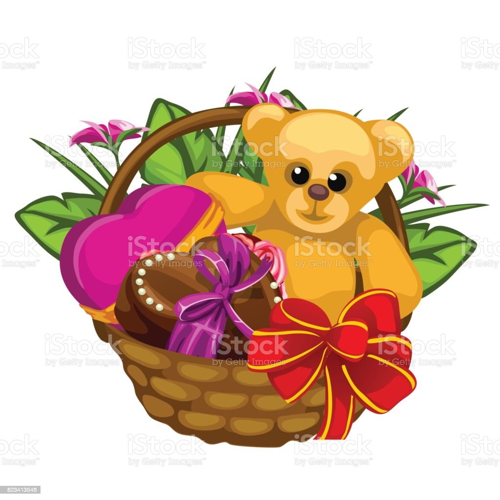 Romantic gift basket with sweets and a toys stock vector art more basket bouquet candy dessert easter romantic negle Choice Image