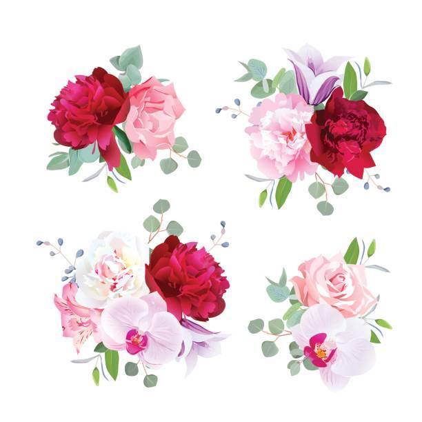 romantische geschenk-sträuße in lila, pink, burgund rot und weiß - inkalilie stock-grafiken, -clipart, -cartoons und -symbole
