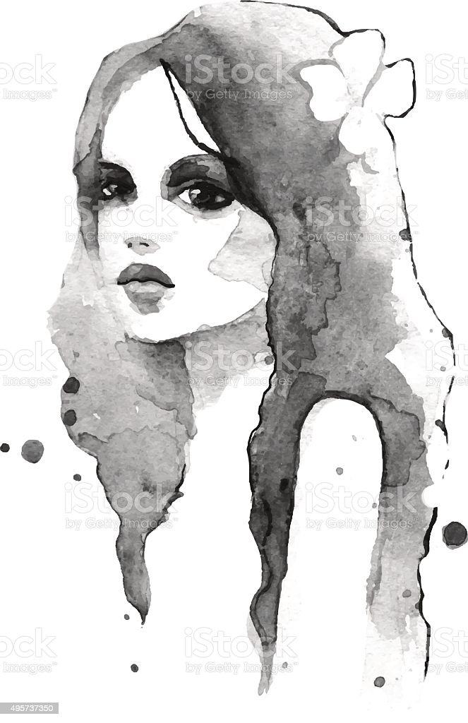 Romantic girl. vector art illustration
