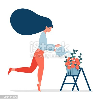 romantic girl with flying hair is watering the potted  flowers. Happy woman taking care of her plant.  Vector illustration isolated from white background