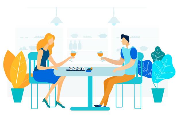 illustrazioni stock, clip art, cartoni animati e icone di tendenza di romantic gourmet dinner flat vector illustration - dinner couple restaurant