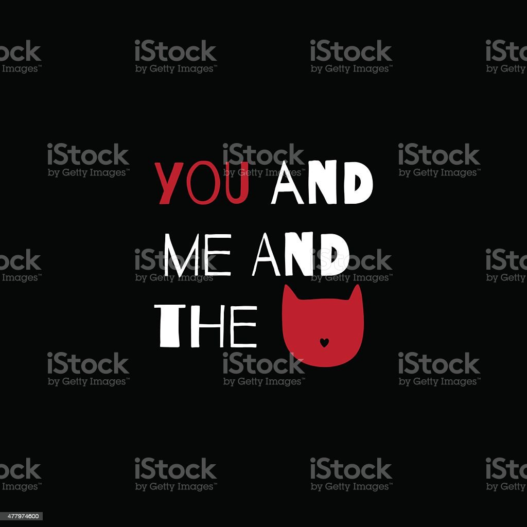 Romantic greeting card with quote about cats. vector art illustration