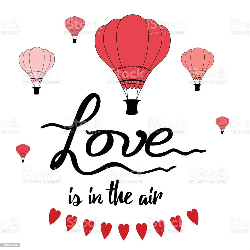 Download Romantic Hand Drawn Slogan Love Is In The Air Decorated ...