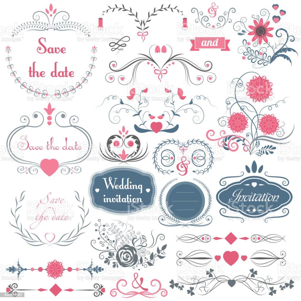 Romantische Handgezeichnete Vektor Hochzeit Grafik Satz Von Frames ...