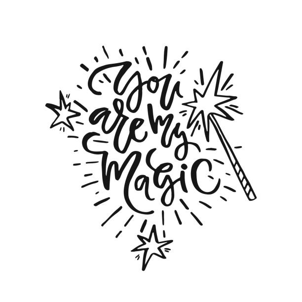 romantic handdrawn letteirng - paranormalny stock illustrations