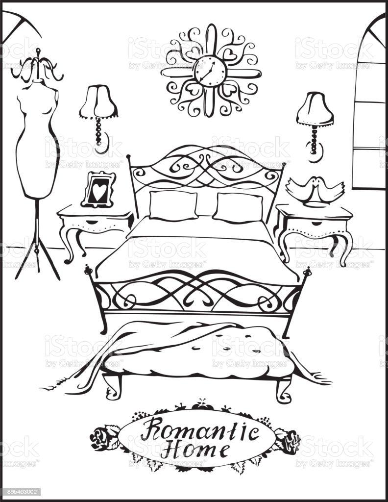 Ilustración de Casa Romántica Dormitorio Ilustración Vectorial De ...