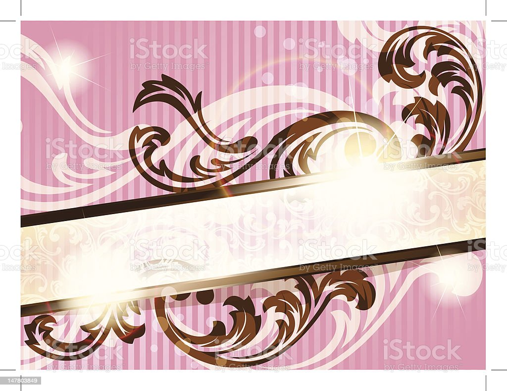 Romantic horizontal French retro banner with transparencies royalty-free stock vector art