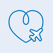 Romantic in flight icon - heart shape trace on blue sky
