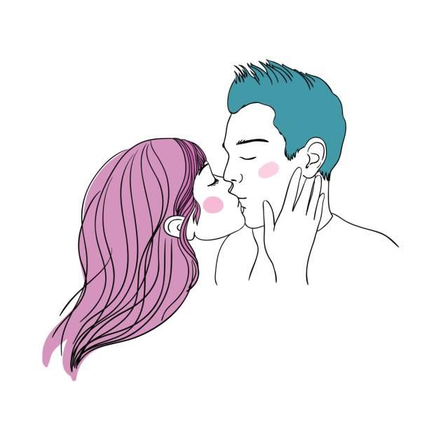 로맨틱 키스 사랑 하는 부부. - kiss stock illustrations