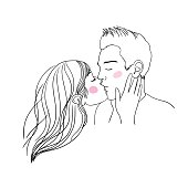 Romantic kiss loving couple. Hand drawing isolated objects on white background. Vector illustration.
