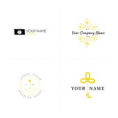 Romantic label templates set. Vector hand drawn objects.