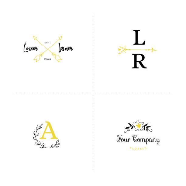 romantische etikettenvorlagen legen. vektor hand gezeichnete objekte. - monogrammarten stock-grafiken, -clipart, -cartoons und -symbole