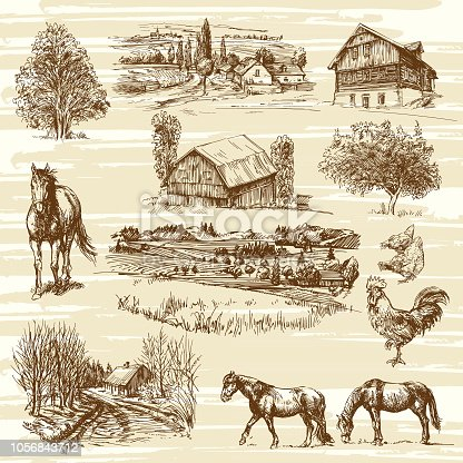 Romantic landscapes with rural houses and various animals, hand drawn collection