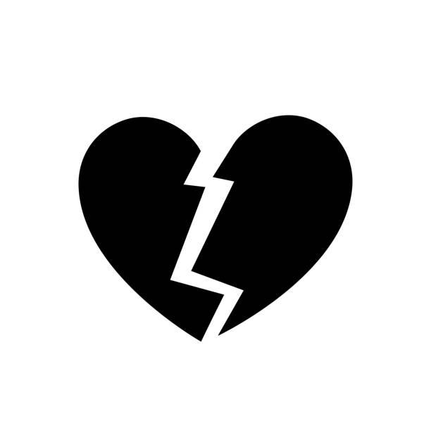stockillustraties, clipart, cartoons en iconen met verliefdheid symbool, zwart pictogram deel 02 - liefdesverdriet
