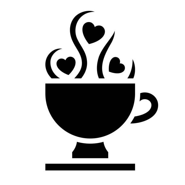 Romantic Love symbol, black icon Love symbol. Valentine's Day sign, black emblem isolated on white background. love potion stock illustrations