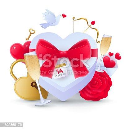istock Romantic love symbols collection 1302369175