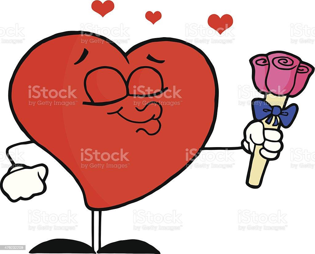 Romantic Male Heart Puckering His Lips royalty-free stock vector art