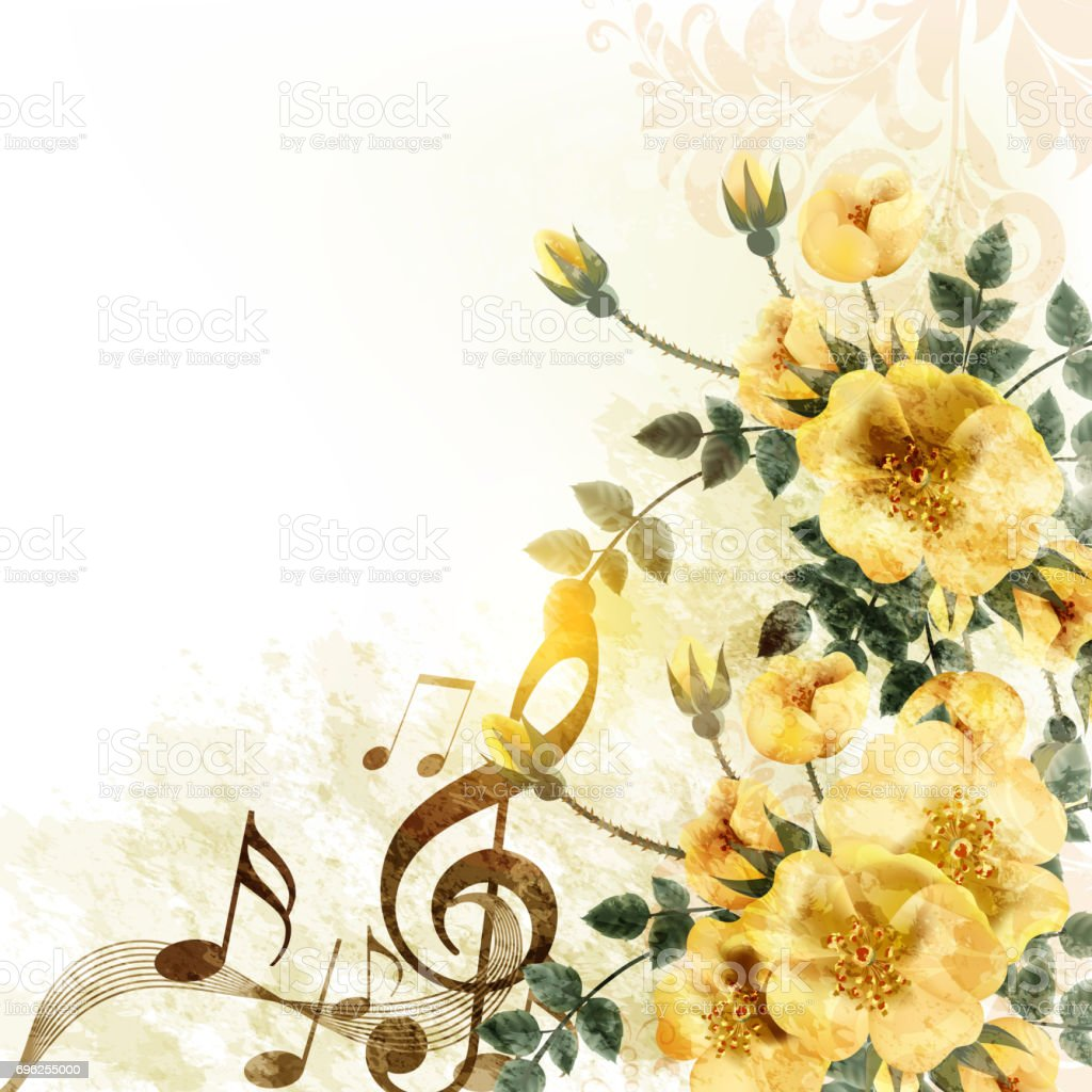 Most Inspiring Wallpaper Music Watercolor - romantic-music-background-with-yellow-roses-in-vintage-style-vector-id696255000  Graphic_40853.com/vectors/romantic-music-background-with-yellow-roses-in-vintage-style-vector-id696255000