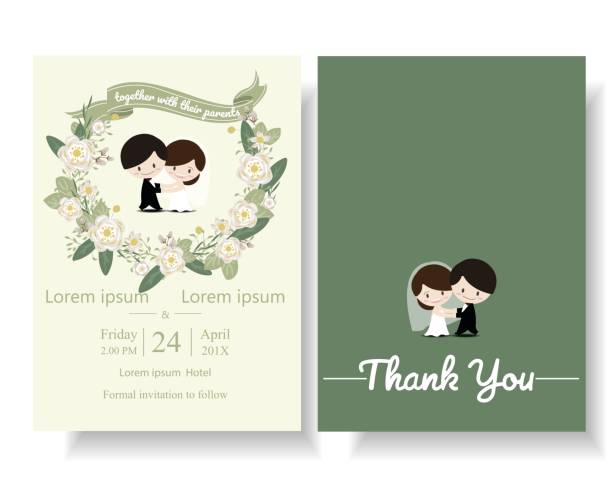 Romantic Newlyweds Dancing with Flowers Wreath on Wedding Invitation Card . Romantic Newlyweds Dancing with Flowers Wreath on Wedding Invitation Card . Cartoon Concept.Vector/Illustration bridegroom stock illustrations