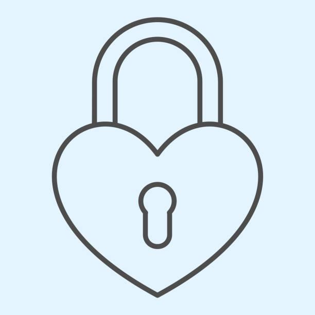 illustrazioni stock, clip art, cartoni animati e icone di tendenza di romantica icona della linea sottile del lucchetto. serratura a forma di cuore. concetto di design vettoriale delle risorse nuziali, pittogramma di stile del contorno su sfondo bianco, uso per web e app. eps 10. - near