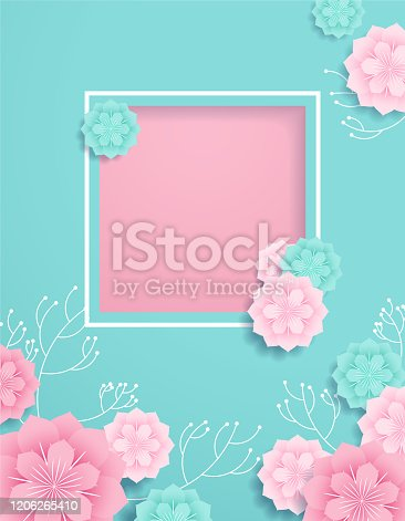 Romantic paper cut background with a title frame.