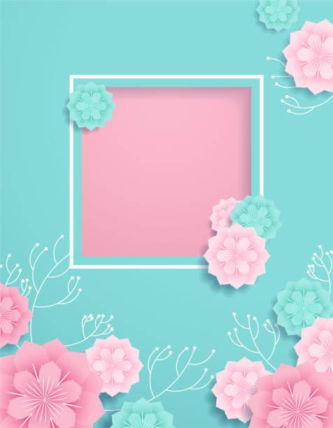 romantic paper cut background vector art illustration