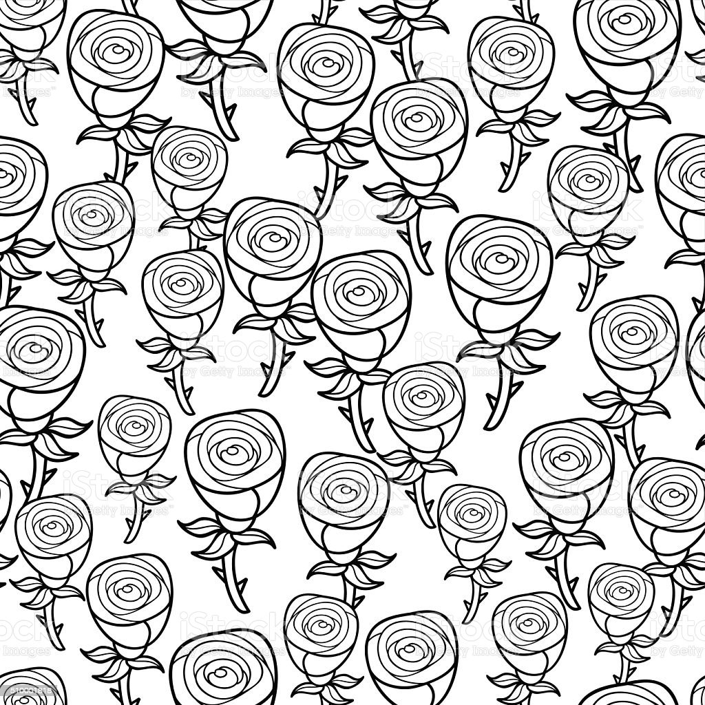 Romantic Pattern Of Black And White Roses Stock Vector Art More