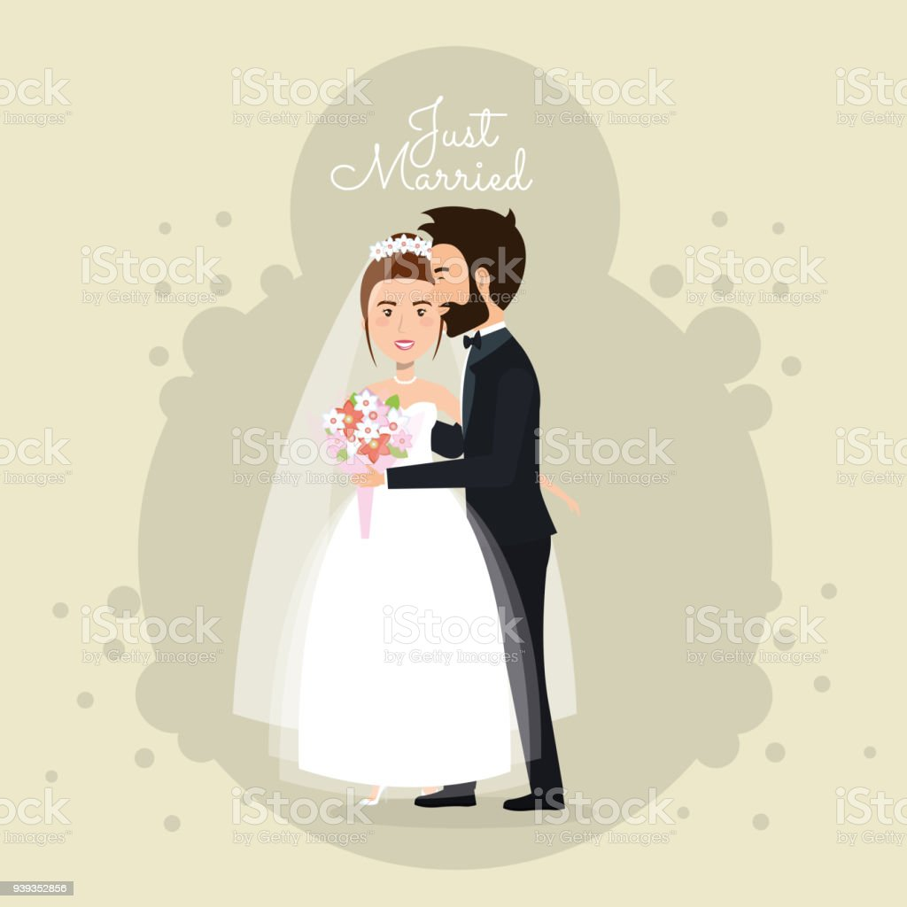 Romantic Picture Of Just Married Couple Stock Illustration