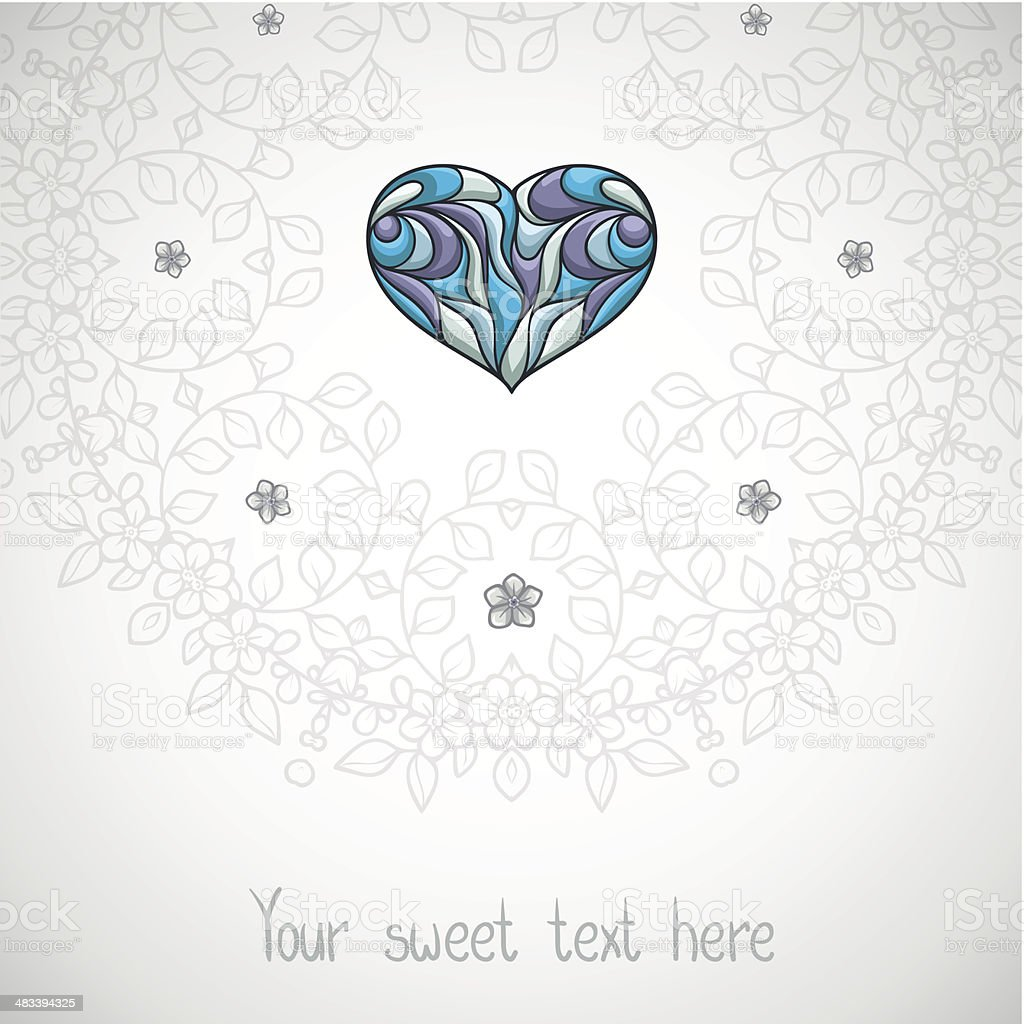 Romantic placecard with heart. royalty-free stock vector art
