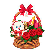 Romantic wicker present basket full of gifts. Handmade love valentine gift basket for woman, red ribbon bow, champagne bottle, present box, chocolate sweets, plush teddy bear. Flat vector illustration