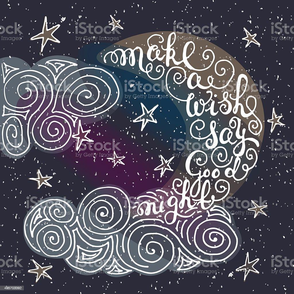 Devis Romantique Make A Wish Dire Bonne Nuit Vecteurs Libres