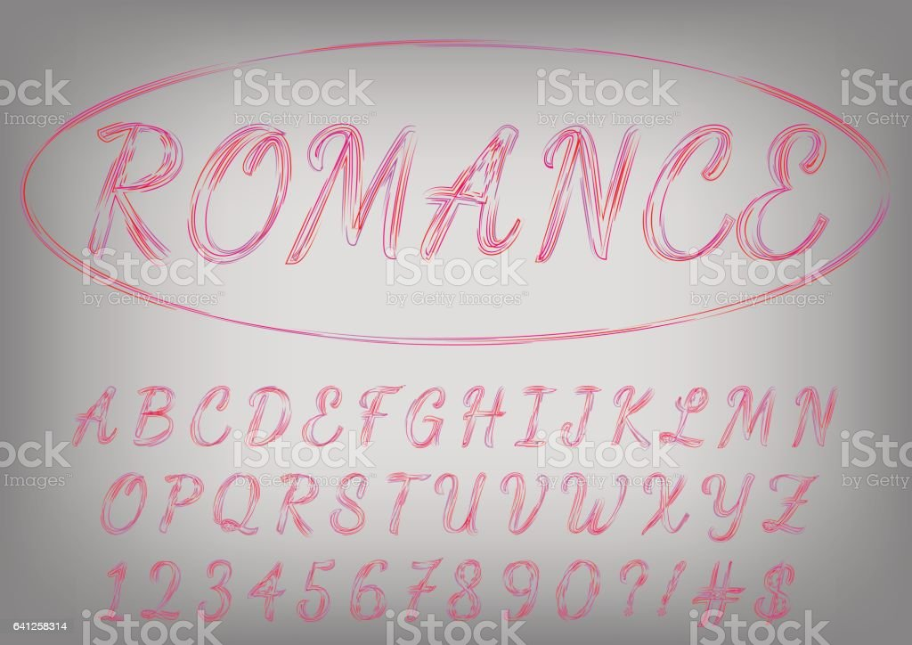 romantic red and purple script typeface valentines day love letters on vector background royalty - Valentines Letters