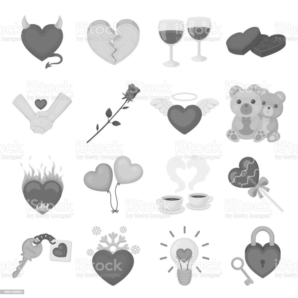 Romantische Beziehung monochrome Symbole im Set Sammlung für Design. Liebe und Freundschaft Symbol Lager Web Vektorgrafik. - Lizenzfrei Accessoires Vektorgrafik