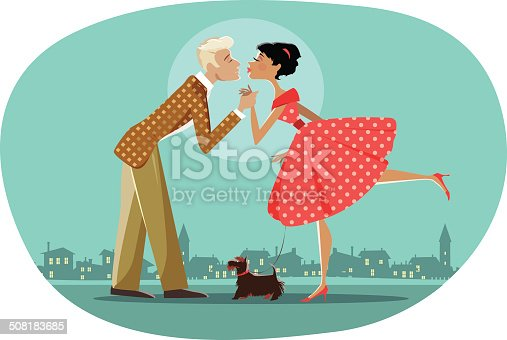 Vector illustration of a retro style couple walking a dog and kissing; background can be easily removed
