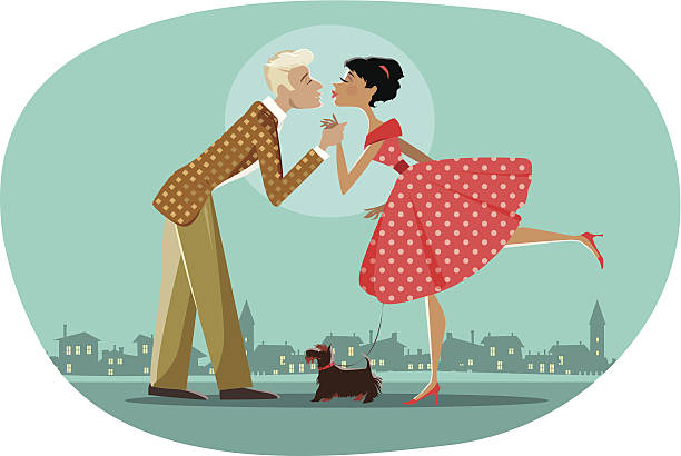 romantic retro couple kissing - date night stock illustrations