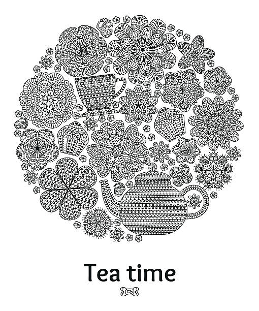 romantic round background with teapot - gehäkelte lebensmittel stock-grafiken, -clipart, -cartoons und -symbole