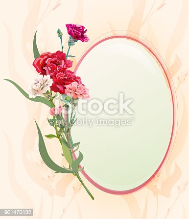 Romantic round frame with bouquet of carnation schabaud, white, pink, red flowers, bud, green stem, leaves on vintage background, digital draw illustration, template for design, vector